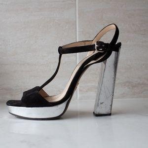 Prada black suede and silver platform heel sandal